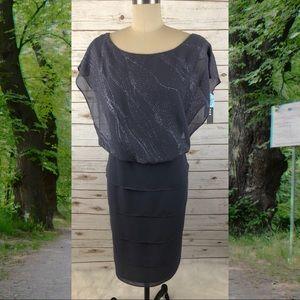 Grey Sparkle Bodice Mid Length Layered Dress